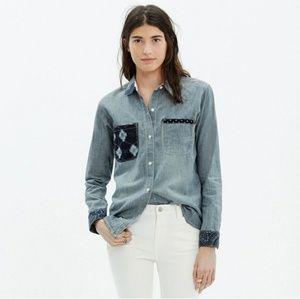 Madewell & Kiriko Patched Chambray Shirt Blue
